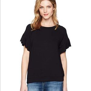 Michael Stars black ruffle sleeve shirt. XS